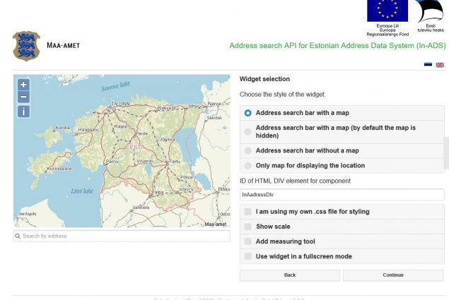 Address search API for Estonian Address Data System (In-ADS)